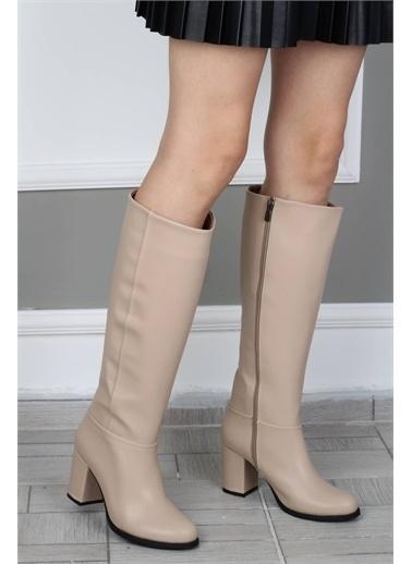 Modabuymus Modabuymus Yuvarlak Burun Kalın Topuklu  Kadın Çizme - Barkab Ten
